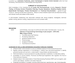 Beautiful Sample Resume For Chemistry Lab Technician Mold