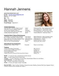 hannah jennens performance artist resume and headshots
