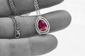 natural unheated red ruby halo pendant sku 56481 2 61ct tw