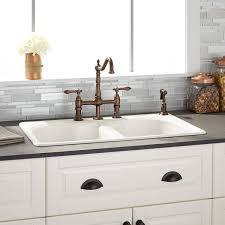 32 berwick bisque double bowl cast iron drop in kitchen sink