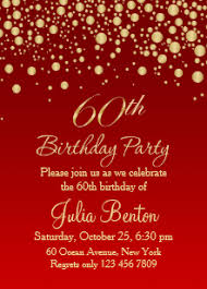 Red And Gold 60th Birthday Invitations Zazzle
