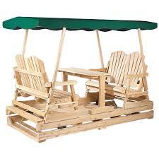 rustic natural cedar furniture deluxe wooden outdoor double glider loveseat set com