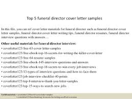 funeral director resume top 5 funeral director cover letter samples