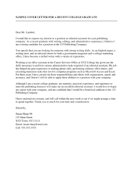 Sample Cover Letter For A Recent College Graduate Resume