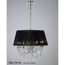 diyas olivia 8 light crystal ceiling pendant lights with black fabric light shade il30056bl black fabric lighting