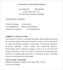 Example Of Construction Resume 8 Construction Resume Templates Doc Pdf Free Premium