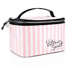 nwt victoria s secret pink white signature stripes train case makeup bag vinyl