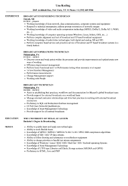 Media Broadcasting Resume Broadcast Technician Resume Samples Velvet Jobs 8