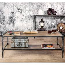 Industrial Looking Coffee Tables Furniture Of America Natural Oak Travon Industrial Coffee Table