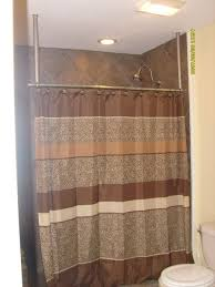 bathroom shower curtain hanging from ceiling mounted suspended rod for elegant household hanging shower curtain rod prepare