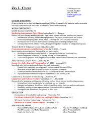Marketing Resume Media Production