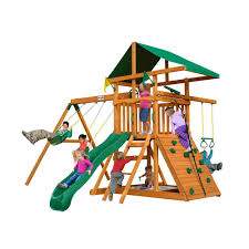 kids swing set playground climbing outdoor wood toy play house slide playset gym