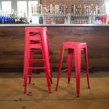 red bar stools. Stackable Metal Bar Stool In Red (Set Of 4 Stools