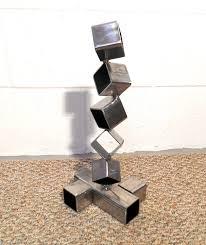 desktop metal sculpture steel cube sculpture modern art