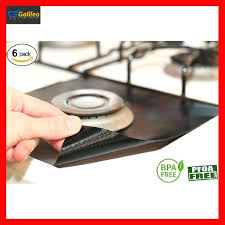 6 reusable gas range stove top burner protector liner cover nonstick cleaning glass