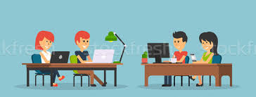 Business Office Design Delectable People Work In Office Design Flat Vector Illustration © Robuart