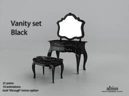black bedroom vanities. Abiss Vanity Set Blacktransfer Version - Dresser Table, Mirror And Stool For Bedroom Black Vanities R
