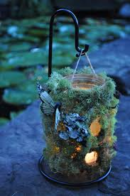 Hanging woodland wedding table number luminaries with moss, lichens &  butterflies