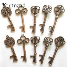 Skeleton Key Chart 10pcs Lot 5 Styles Antique Bronze Metal Skeleton Key Shape