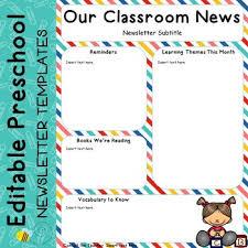 Preschool Newsletter Template Magnificent Editable Preschool Kids Newsletter Templates By Rosie Prehoda TpT