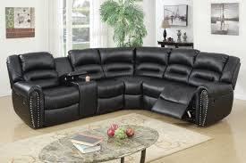 com 3pcs black bonded leather reclining sectional sofa set with three tiered pillow style back supports kitchen dining