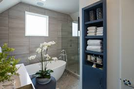 hgtv photos bathrooms. blue chest of storage white standalone bathtub flowers ceramic flooring tile glass shwoer cabin partition walls bathroom hgtv photos bathrooms