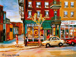 montreal painting paintings of famous montreal places st viateur bagel city scene by e