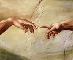 in michelangelo s creation of adam points while adam lets his hand fall in