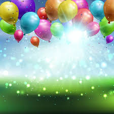 Free Birthday Backgrounds Balloons And Confetti On A Defocussed Landscape Background