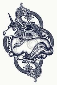 Fototapeta Unicorn A Dračí Tetování Symbol Snů Příběhů Fantazie Jednorožec