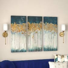 >willa arlo interiors midnight forest gel coat canvas wall art with   midnight forest gel coat canvas wall art with gold foil embellishment 3 piece
