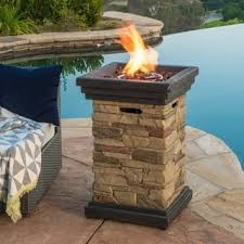 propane patio fire pit. Interesting Patio Chesney Outdoor 19inch Column Propane Fire Pit With Lava Rocks Throughout Patio T