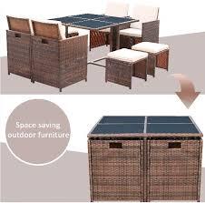 9 piece space saving pe rattan outdoor