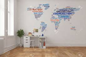 home office world. Stock Photo - Teamwork Concept On World Map A Wall In Home Office Over Desk (3D Rendering)