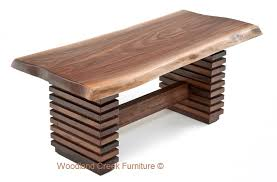 slab coffee table with unique reclaimed wood base