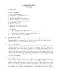 Resume For Bank Teller Bank Teller Responsibilities Srhnf Info