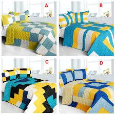 Modern teen bedding Modern Blue Yellow Teen Bedding Boy Girl Fullqueen Quilt Set Geometric Checkered Bedspread Decoist Modern Blue Yellow Teen Bedding Boy Girl Fullqueen Quilt Set