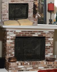 diy painted brick fireplace before ugly pink upper left inset image more pics