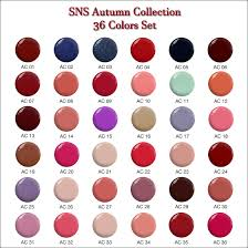 Sns Color Chart Ac00 Autumn Collection Ac 36 Colors