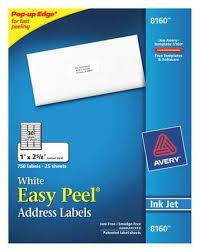 Avery Address Lables Avery Avery Easy Peel Address Labels For Inkjet Printers 8160 1