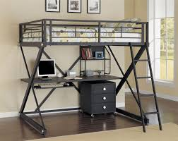 full size loft bed with storage metal
