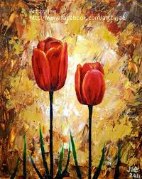 red tulips print 5x4 wall art home decor realistic red flowers reion of original acrylic painting