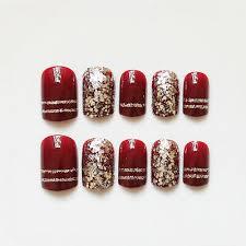 false nails glitter golden wine red