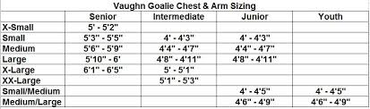 64 Proper Vaughn Goalie Chest Protector Sizing Chart