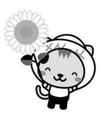 ひまわりと猫のイラスト8月季節素材のプチッチ