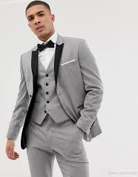 Mens Light Grey Wedding Suits Light Grey Groom Tuxedos Black Lapel Groomsman Wedding Suit Fashion Men Business Prom Party Jacket Blazerjacket Pants Tie Vest2586 Mens Suit Vests