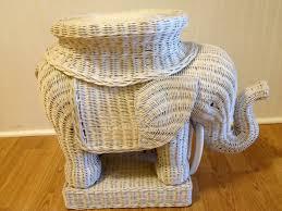 ... Extraordinary Furniture For Interior Decoration Using Wicker Elephant  Table : Extraordinary Decorative Round White Wicker Elephant ...