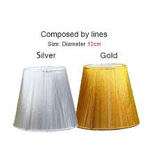 impressive clip on lamp shades for chandeliers 12cm modern gold and silver chandelier lampshade pull line fabric