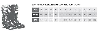 Youth Motocross Boot Size Chart Allmoto Online