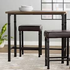 Metal Table For Kitchen Appealing High Top Kitchen Table Rectangular Shape Wood Brown